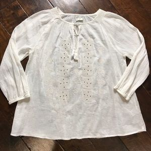Joie Silk Embroidered Tie Knot Peasant Blouse
